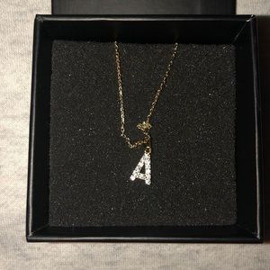 M jewelers PAVE' SINGLE BLOCK INITIAL NECKLACE